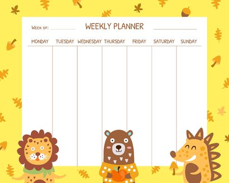 Weekly Planner Template, School Timetable Design with Cute Animals Vector Illustration