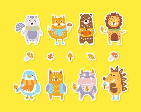 Cute Animals Colourful Stickers Collection, Lovely Baby Animal Patches Vector Illustration Иллюстрация