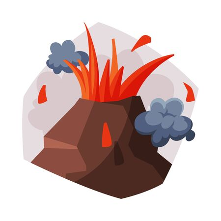 Volcano Eruption, Volcanic Activity with Smoke, Ecological Problem, Air Pollution Vector Illustration