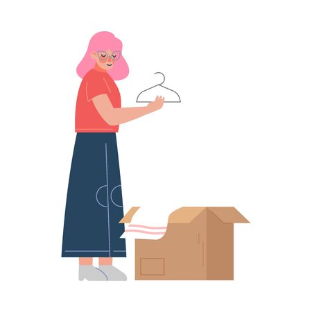 Girl Packing her Belongings Preparing for Relocation, Woman Moving to New Home Vector Illustration