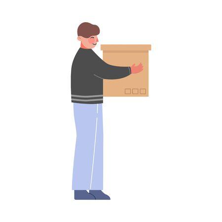 Young Man Holding Cardboard Box, Guy Moving to New Home Vector Illustration Illusztráció