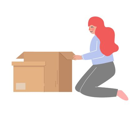 Girl Sitting on Knees Packing her Belongings Prepare for Relocation, Woman Moving to New Home Vector Illustration