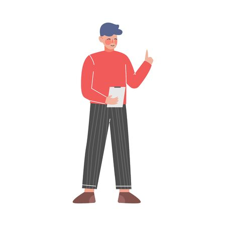 Young Man with to Do List, Guy Standing with Clipboard Holding Up His Index Finger Vector Illustration