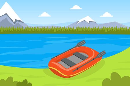 Inflatable Boat on Bank of River or Lake, Beautiful Summer Mountain Landscape Vector Illustration