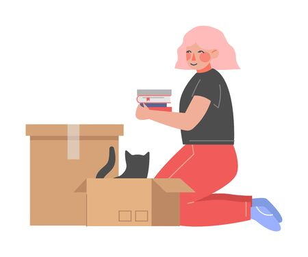 Young Woman Sitting on her Knees Packing or Unpacking Belongings in Cardboard Box, Guy Relocating to New Home Vector Illustration