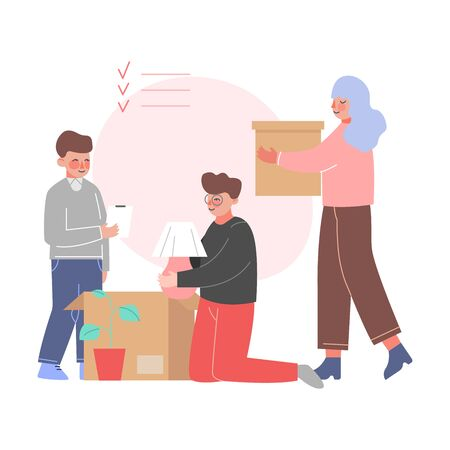 Mom, Dad and Son Packing Boxes in Room, Family Relocating to New Apartment Vector Illustration