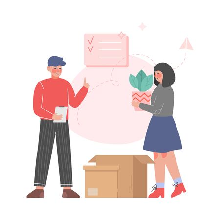 Couple Packing Belongings in Cardboard Boxes, Family Relocating to New Apartment Vector Illustration