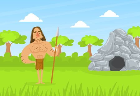 Prehistoric Caveman in Animal Skin Standing with Spear on Stone Age Natural Landscape Vector Illustration