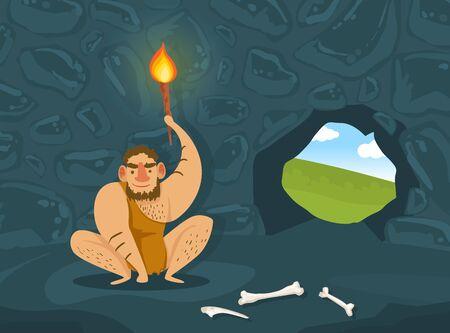 Prehistoric Caveman in Animal Skin Sitting in Dark Cave with Burning Torch, Primitive Man Character Vector Illustration