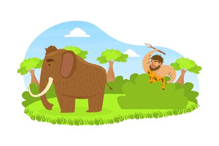 Prehistoric Caveman Sitting in Ambush with Spear, Primitive Man Hunting for Mammoth on Stone Age Natural Landscape Vector Illustration