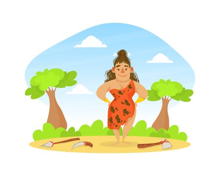 Prehistoric Woman in Animal Skin Standing on Stone Age Natural Landscape, Primitive Tools Lying on Ground in front of Her Vector Illustration