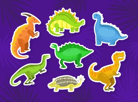 Cute Dinosaur Stickers Collection, Little Colorful Jurassic Animals Vector Illustration