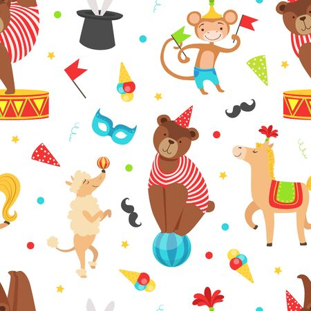 Circus Seamless Pattern with Vintage Carnival Elements and Cute Animals, Amusement Park Vector Illustration Illustration