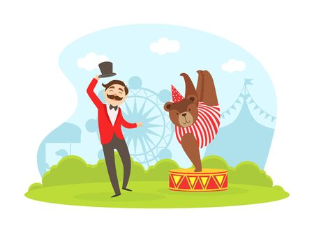 Magician and Cute Bear Performing in Amusement Park, Circus Carnival Show Vector Illustration Illustration