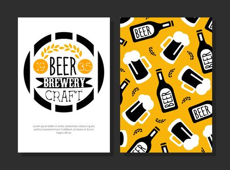 Beer Brewery Craft Card Template, Beer Festival Greeting, Invitation Banner, Poster Vector Illustration, Web Design.