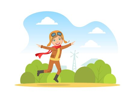 Cute Happy Girl in Retro Leather Flight Helmet and Costume Running with Outstretched Hands, Child Dreaming of Becoming Aviator Cartoon Vector Illustration