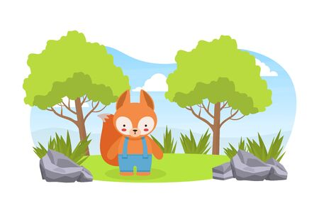 Cute Baby Squirrel Standing on on Green Lawn, Adorable Humanized Animal Character Cartoon Vector Illustration.