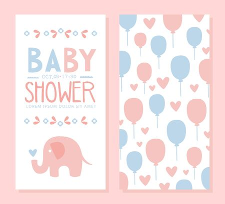 Baby Shower Invitation Card Template, Front and Back Side, Lovely Elephant and Balloons, Baby Arrival Banner, Poster Cartoon Vector Illustration. Vettoriali