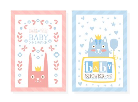 Baby Shower Invitation Card Template with Lovely Animals, Baby Arrival Banner, Poster Cartoon Vector Illustration.