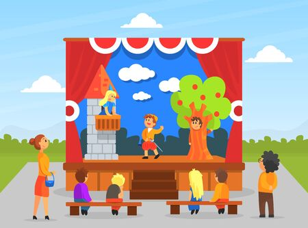 Children Theatre Performance, Kids Actors Performing on Stage with Red Curtains and Fairy Tale Castle Scenery Cartoon Vector Illustration.