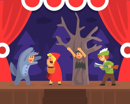 Children Theatre Performance, Kids Actors Performing Red Hood Fairy Tale Show Scene on Stage with Red Curtains Cartoon Vector Illustration.