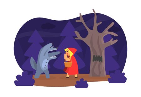 Red Hood Fairy Tale Show Scene, Children Kids Actors Performing on Stage Cartoon Vector Illustration.