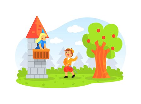 Children Actors Performing Fairy Tale Show with Castle Scenery, Prince and Princess Cartoon Vector Illustration.