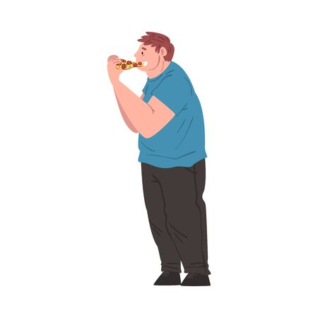 Fat Man Eating Pizza, Side View of Obese Person Enjoying of Fast Food Dish, Unhealthy Diet and Lifestyle Vector Illustration Illustration
