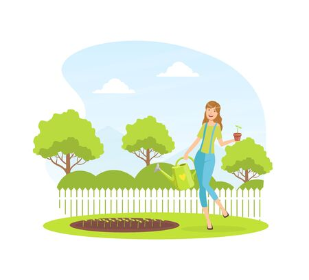 Young Woman Watering and Planting Seedlings in the Garden in Springtime Vector Illustration