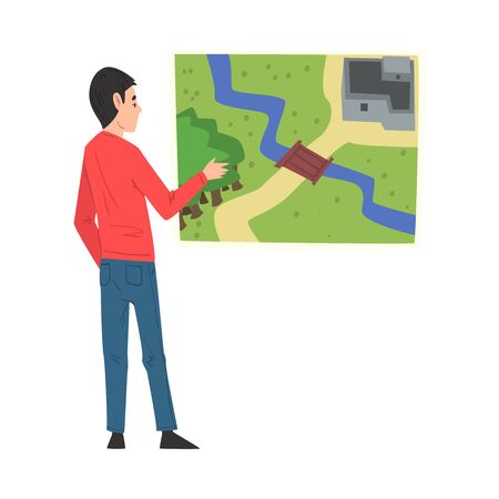Young Man Looking at Wall with Map, Person Playing Quest Reality Game Vector Illustration Isolated on White Background.