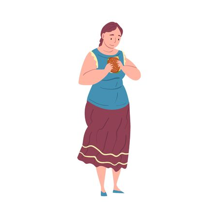 Smiling Plump Woman Eating Burger, Plus Size Woman Enjoying of Junk Food, Unhealthy Lifestyle Vector Illustration Isolated on White Background. Illustration