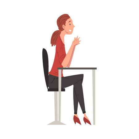 Businesswoman Sitting at Desk, HR Specialist Working at Headhunting Agency Vector Illustration Isolated on White Background. Illustration