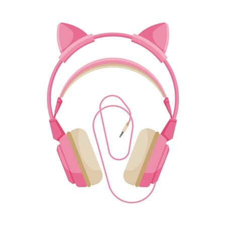 Pink Childish Headphones with Cable, Accessory for Music Listening or Gaming Vector Illustration
