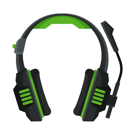 Wireless Headphones with Microphone, Headset, Accessory for Music Listening or Gaming Vector Illustration