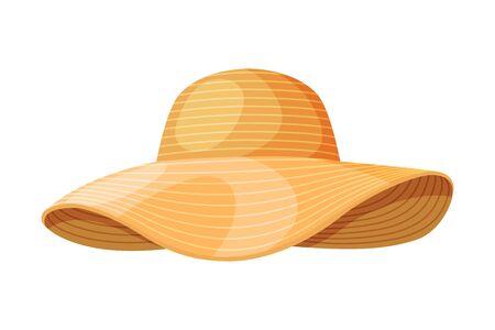 Female Straw Hat, Vintage Headdress, Sun Protection Headwear for Lady Flat Vector Illustration