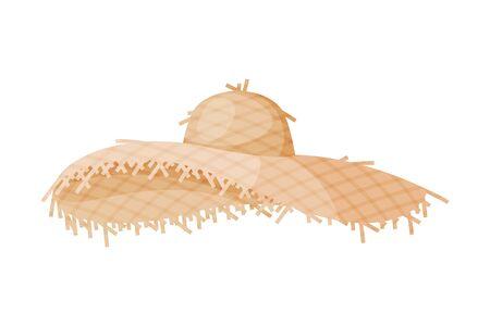 Female Straw Hat, Fashion Headdress, Sun Protection Headwear for Lady Flat Vector Illustration