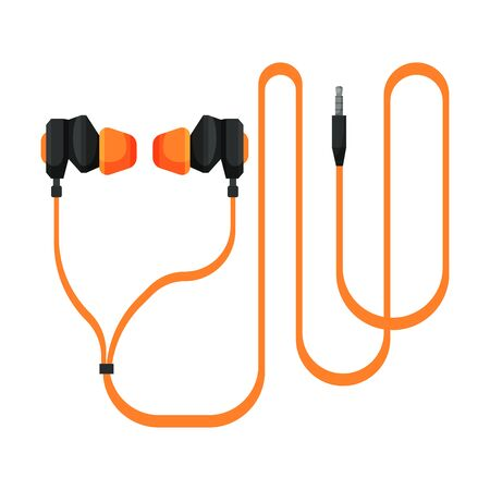 Orange Wired Earphones, Accessory for Music Listening or Gaming Vector Illustration