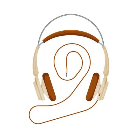 Wired Headphones, Accessory for Music Listening or Gaming Vector Illustration