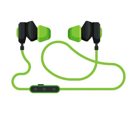 Green Earphones, Accessory for Music Listening or Gaming Vector Illustration