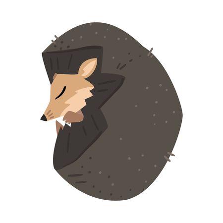 Adorable Sleeping Hedgehog, Lovely Wild Forest Animal Cartoon Character Vector Illustration