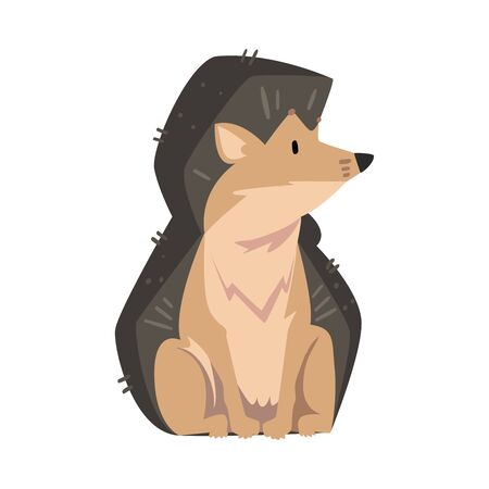 Cute Sitting Hedgehog, Lovely Wild Forest Animal Cartoon Character Vector Illustration