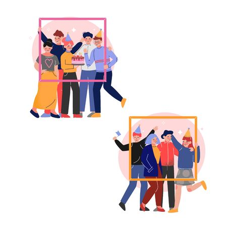 Group of Friends Holding Portrait Frame Set, Teenagers Wearing Party Hats Having Birthday Party Vector Illustration