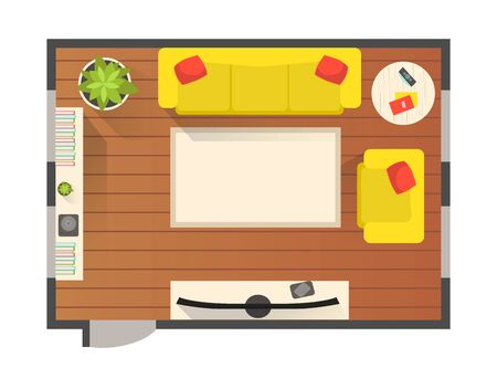 Living Room Modern Interior, Top View of Detailed Plan for Apartment or Family House with Furniture Elements Vector Illustration