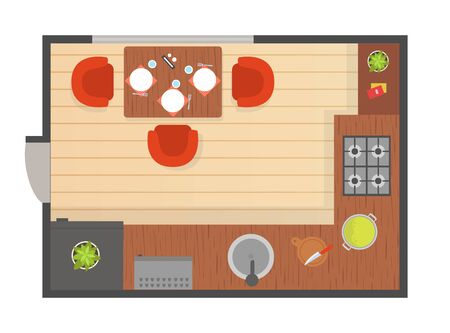 Dining Room Modern Interior, Top View of Detailed Plan for Apartment or Family House with Furniture Elements Vector Illustration