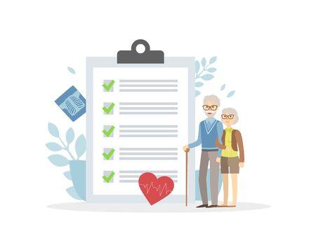 Elderly Insurance, Healthcare, Medicine and Emergency Service Vector Illustration