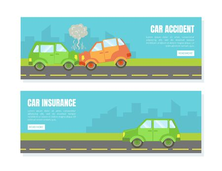 Car Accident Landing Page Template Set, Car Inuranse, Assistance and Service Online Web Page, Mobile App Vector Illustration