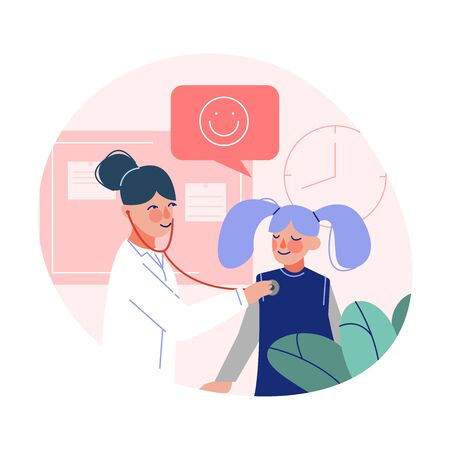 Pediatrician Doctor Listening to Chest of Cute Girl with Stethoscope, Medical Treatment and Healthcare Flat Vector Illustration