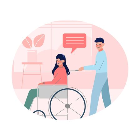 Male Doctor Helping Disabled Young Woman who is Sitting in Wheelchair, Healthcare Assistance Vector Illustration Illustration