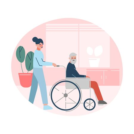 Nurse or Doctor Helping Disabled Elderly Man who is Sitting in Wheelchair, Healthcare Assistance Vector Illustration