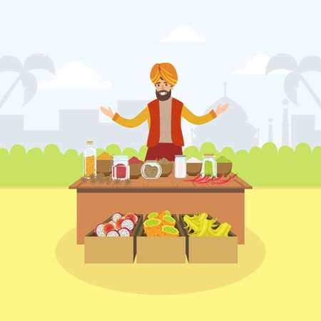 Indian Man Selling Spices and Fruits at Marketplace Vector Illustration